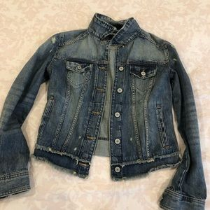 Express distressed denim jacket